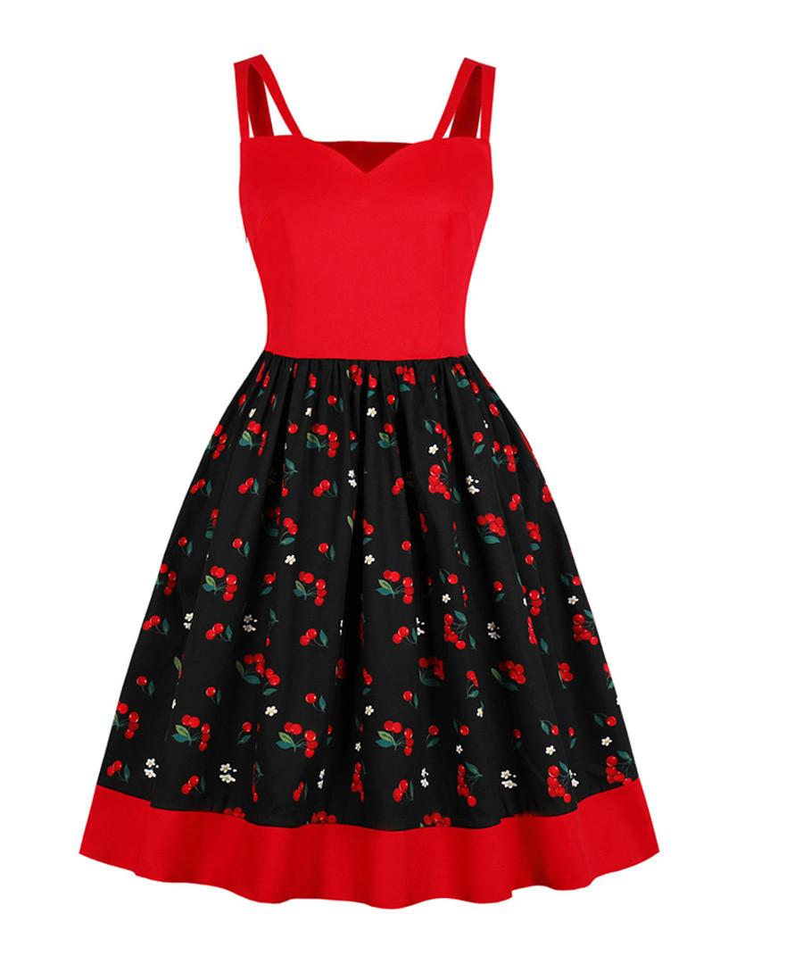 Black & red berry print A-line dress Sale - Mixinni
