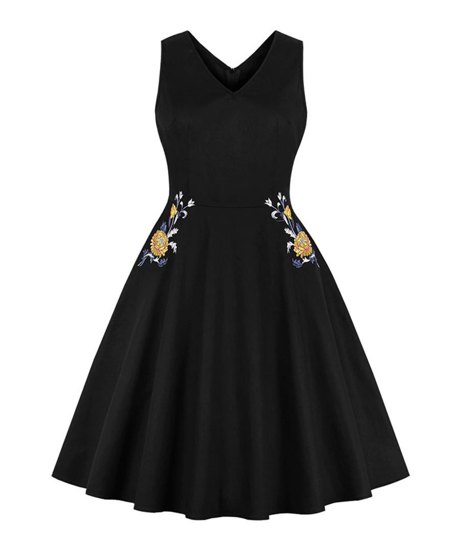 Black floral print A-line dress Sale - Mixinni