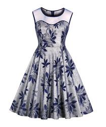 Silver & blue print A-line dress