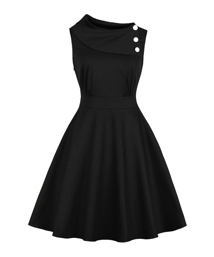 Black fold-over button neck A-line dress Sale - Mixinni