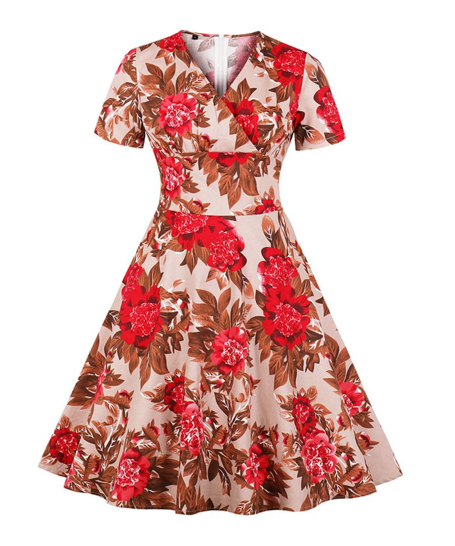 Apricot floral print A-line dress Sale - Mixinni