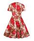 Apricot floral print A-line dress Sale - Mixinni Sale