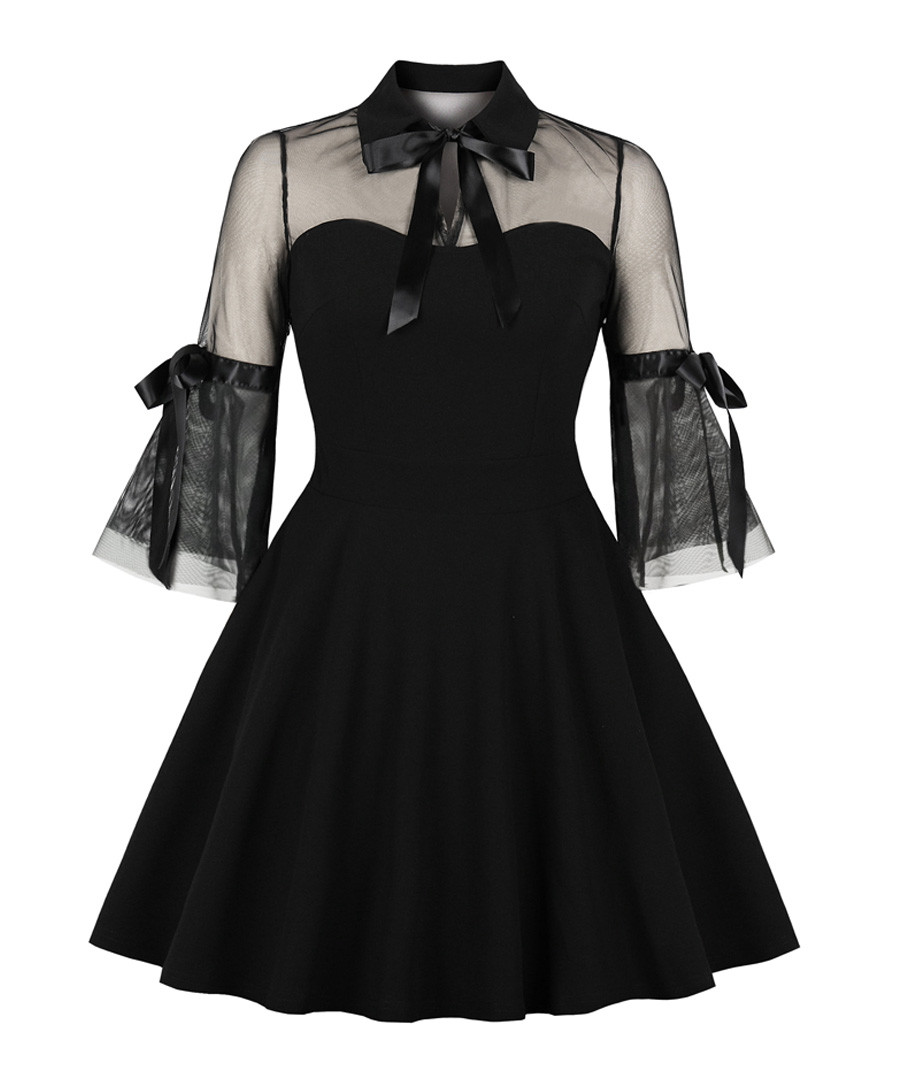 Black sheer bell sleeve A-line dress Sale - Mixinni