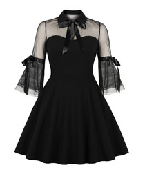 Black sheer bell sleeve A-line dress