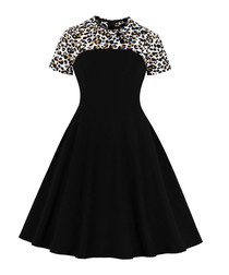 Black leopard print short sleeve dress