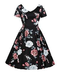 Black floral print A-line dress