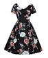 Black floral print A-line dress Sale - mixinni Sale