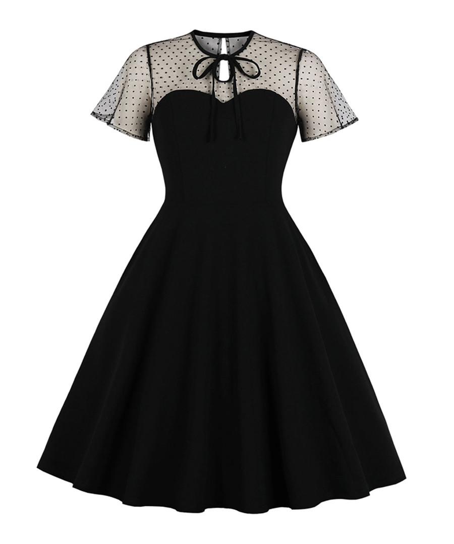 Black polka dot short sleeve dress Sale - Mixinni