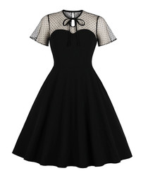 Black polka dot short sleeve dress
