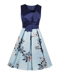 Navy floral pleated A-line dress