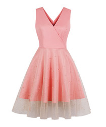 Pink & gold polka dot embellished dress