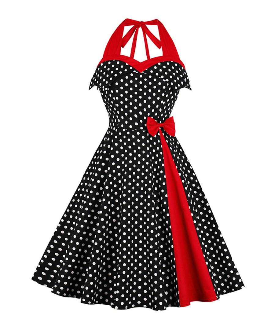 Black & red polka dot bow A-line dress Sale - Mixinni