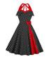 Black & red polka dot bow A-line dress Sale - Mixinni Sale