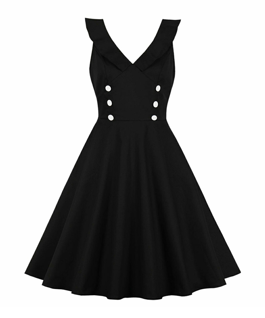 Black double breasted A-line dress Sale - Mixinni