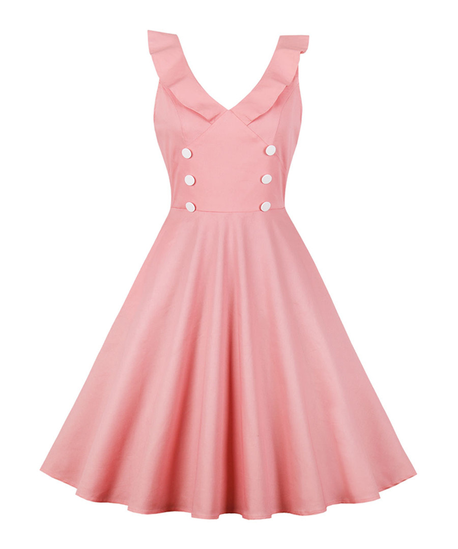 Pink double breasted A-line dress Sale - Mixinni
