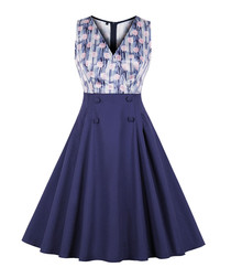 Navy print A-line dress