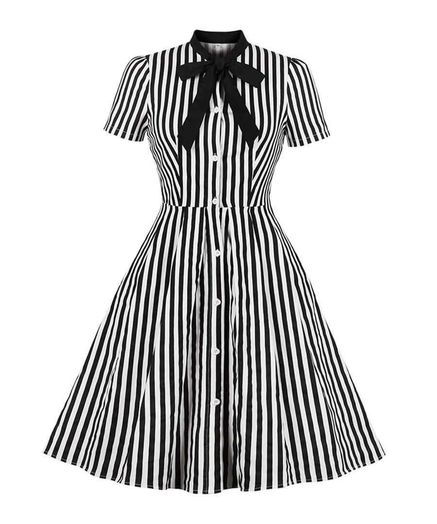 Black & white stripe A-line dress Sale - Mixinni