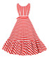 Red & white stripe bow-waist dress Sale - Mixinni Sale