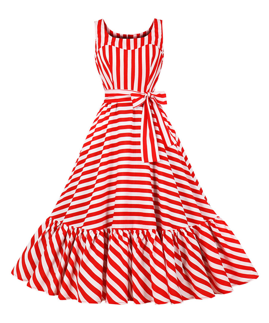Red & white stripe bow-waist dress Sale - Mixinni