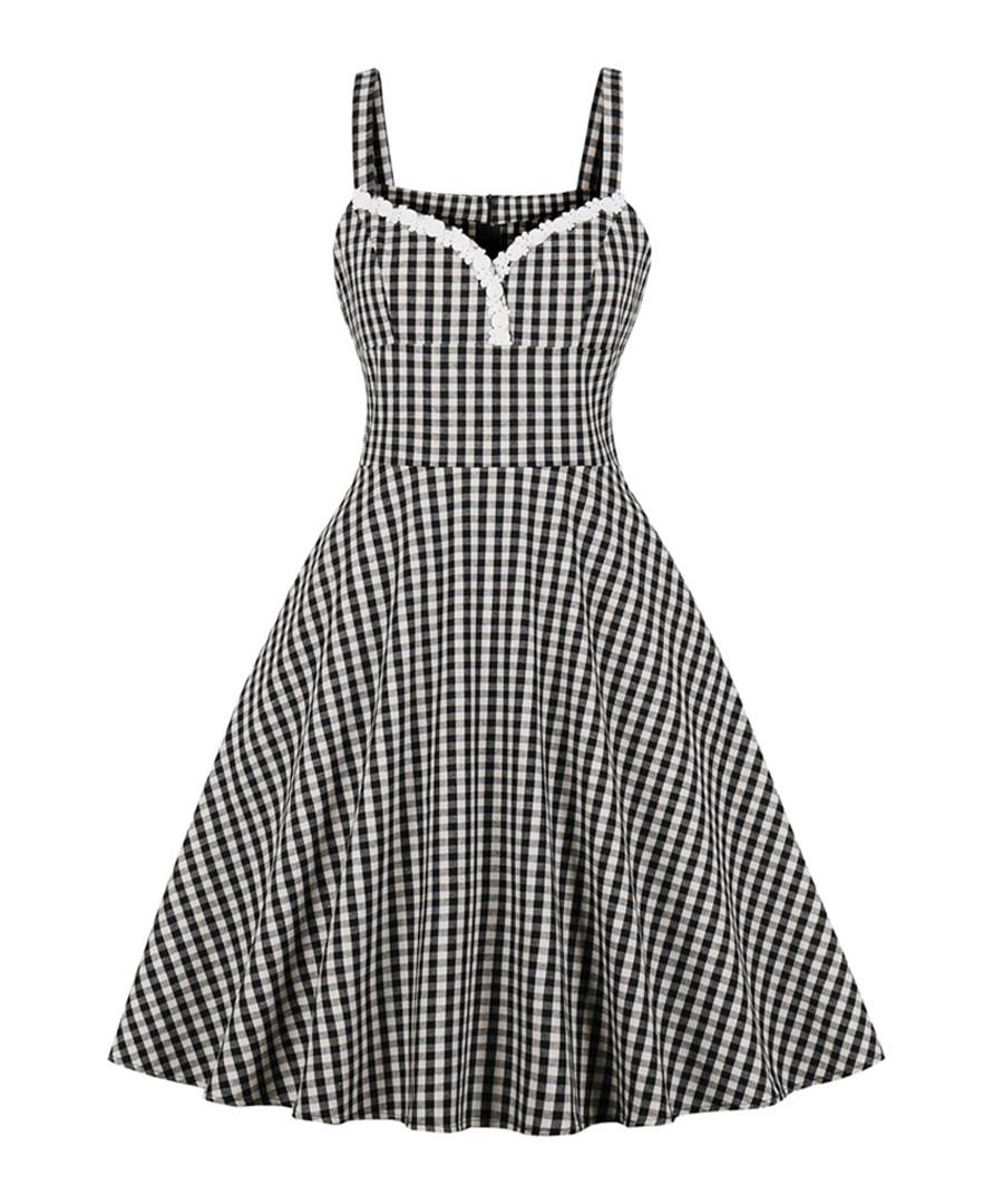 Black & white check A-line dress Sale - Mixinni