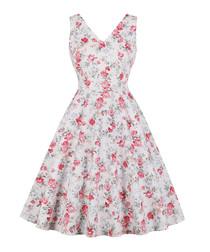 White floral print A-line dress