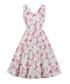 White floral print A-line dress Sale - mixinni Sale