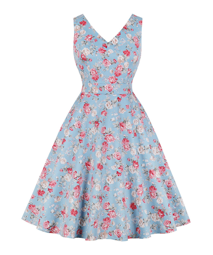 Light blue floral print A-line dress Sale - Mixinni