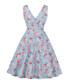 Light blue floral print A-line dress Sale - Mixinni Sale