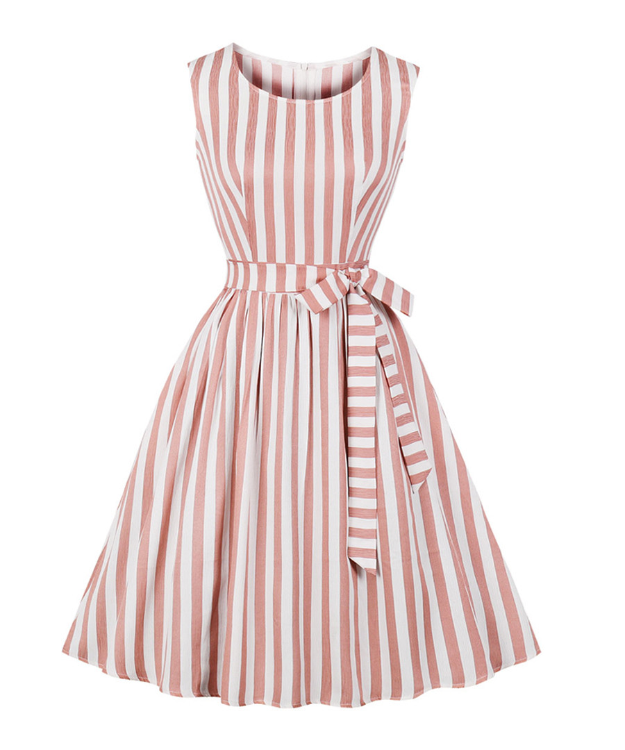 Blush & white stripe bow-waist dress Sale - Mixinni