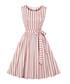 Blush & white stripe bow-waist dress Sale - Mixinni Sale