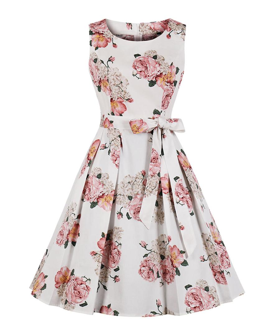 White floral print bow-waist dress Sale - Mixinni