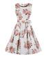 White floral print bow-waist dress Sale - Mixinni Sale