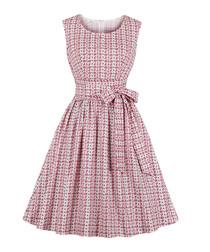 Pink print bow-waist A-line dress