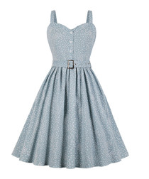 Blue & white belted polka dot dress