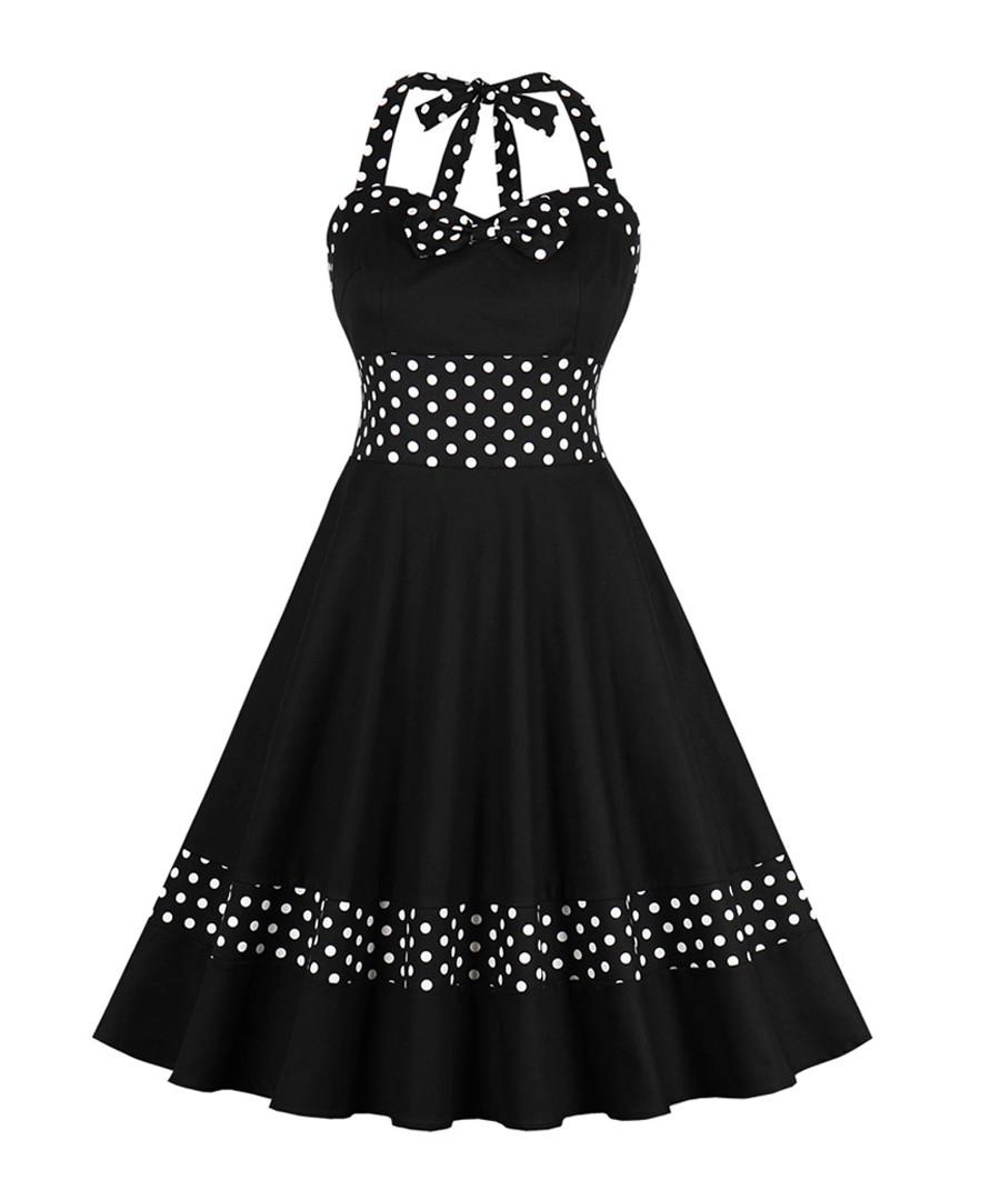 Black & white polka dot halterneck dress Sale - Mixinni