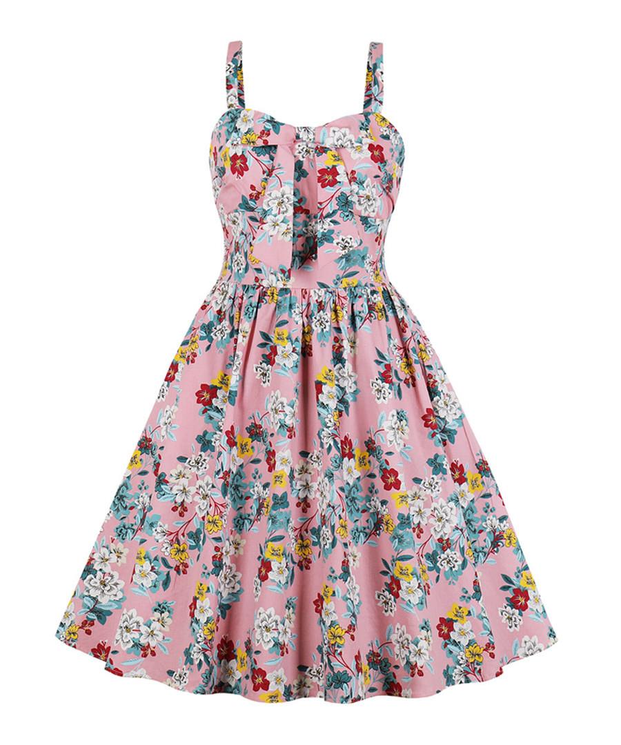 Pink floral print A-line dress Sale - Mixinni