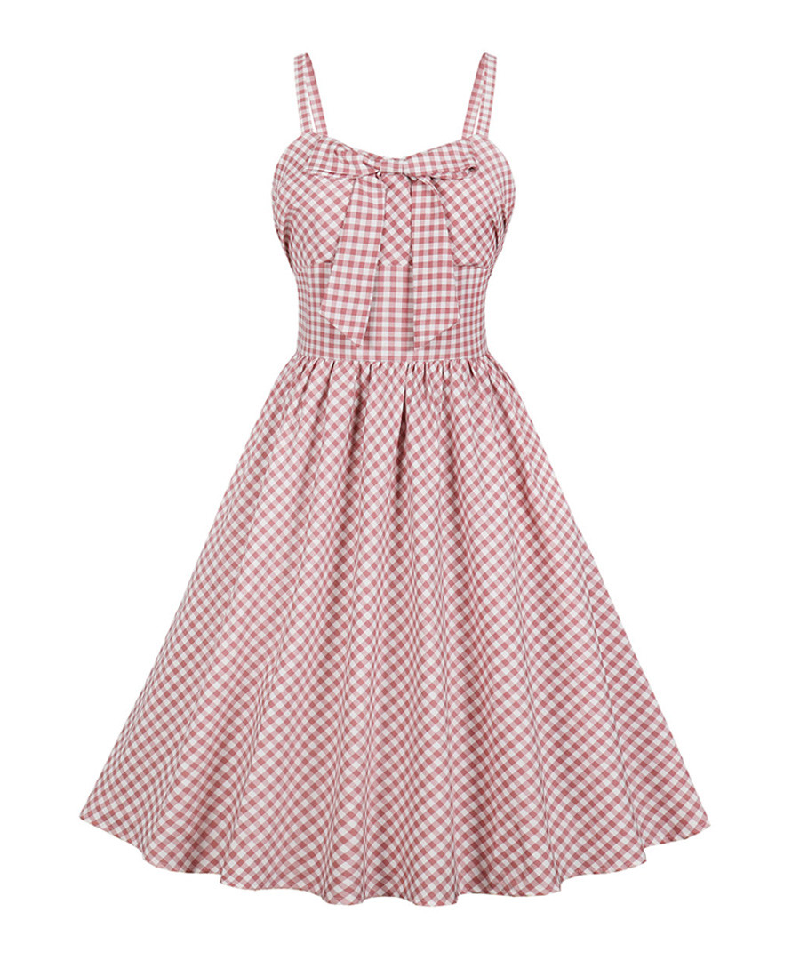 Pink & white check A-line dress Sale - Mixinni