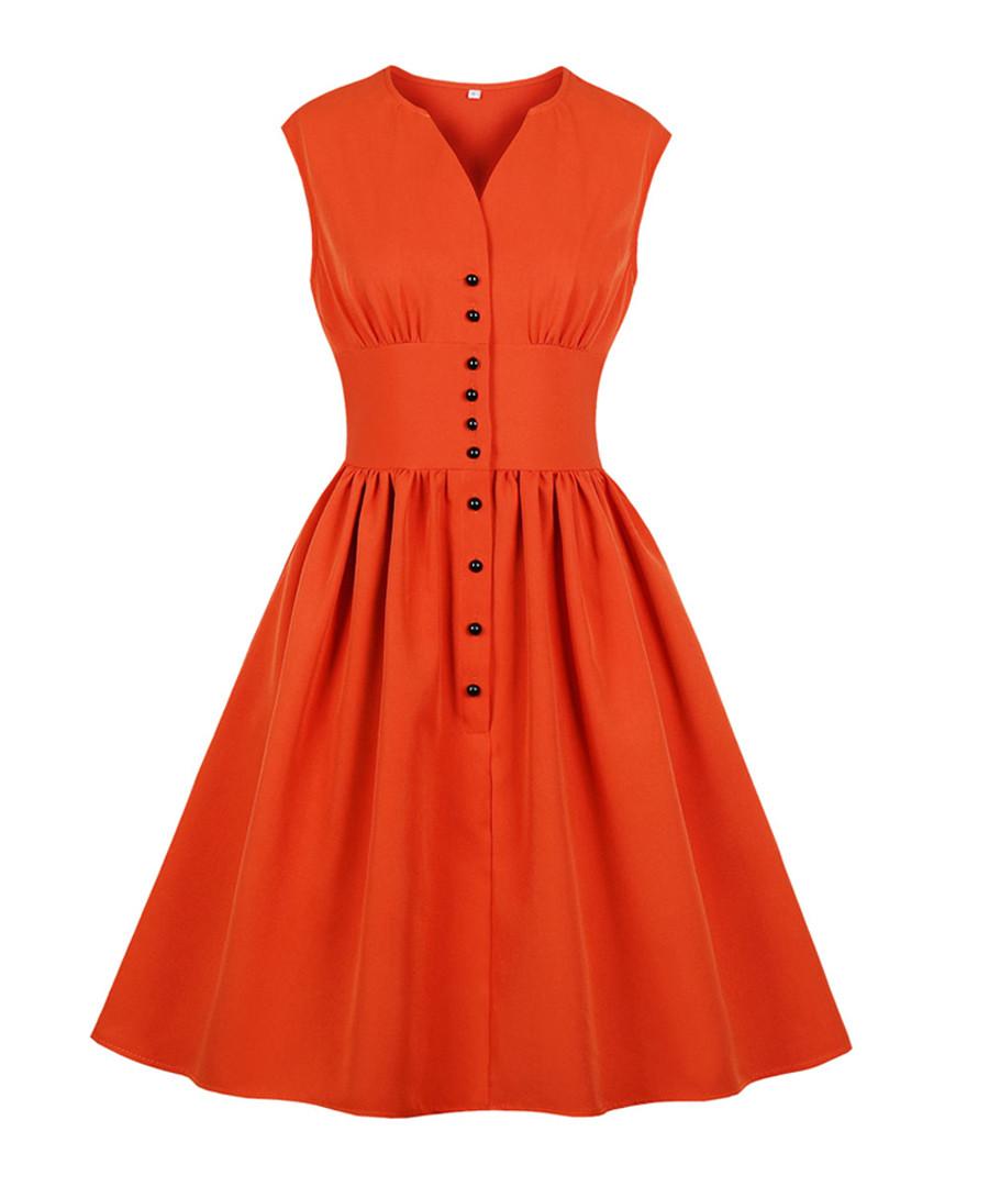 Orange button A-line dress Sale - Mixinni