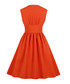 Orange button A-line dress Sale - Mixinni Sale