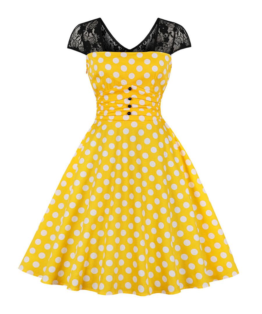 Black & yellow polka dot A-line dress Sale - Mixinni