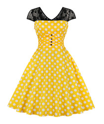 Black & yellow polka dot A-line dress