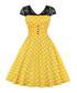Black & yellow polka dot A-line dress Sale - Mixinni Sale