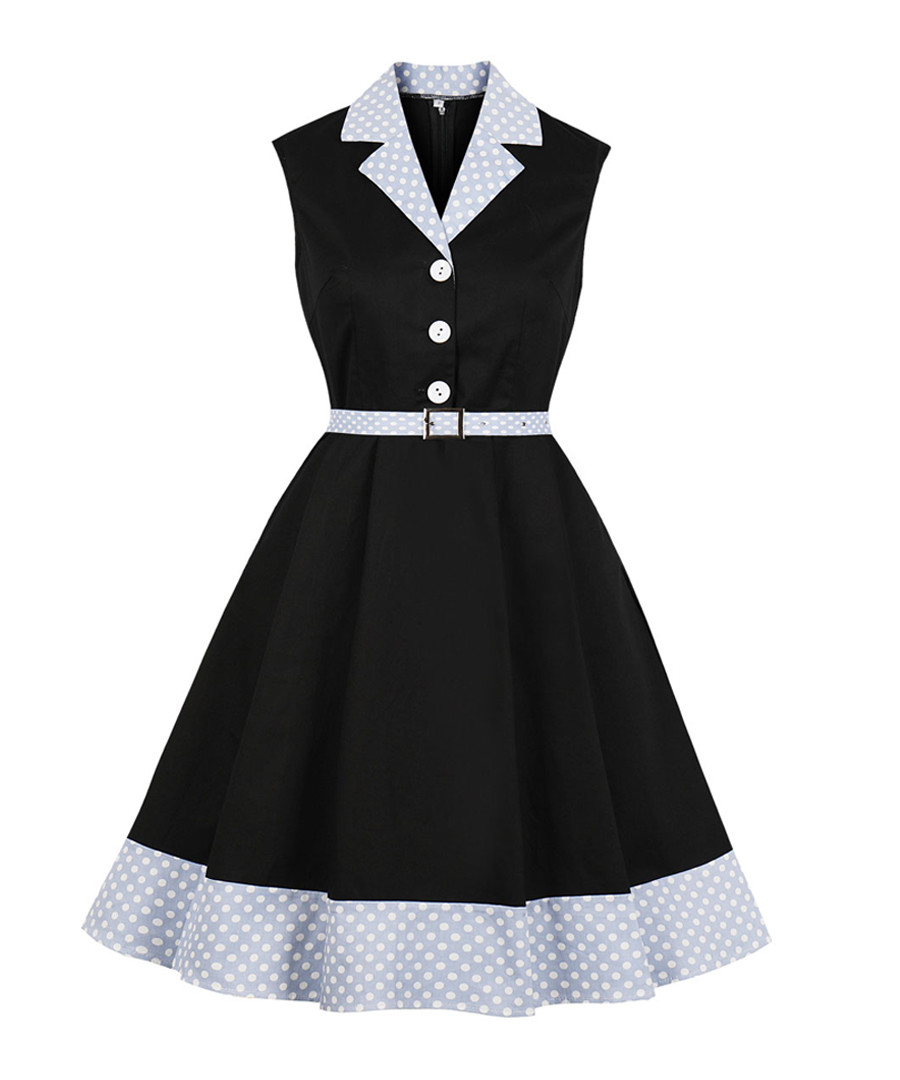 Black & blue belted wing collar dress Sale - Mixinni