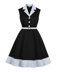 Black & blue belted wing collar dress