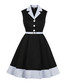 Black & blue belted wing collar dress Sale - Mixinni Sale