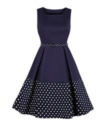 Navy & black polka dot A-line dress