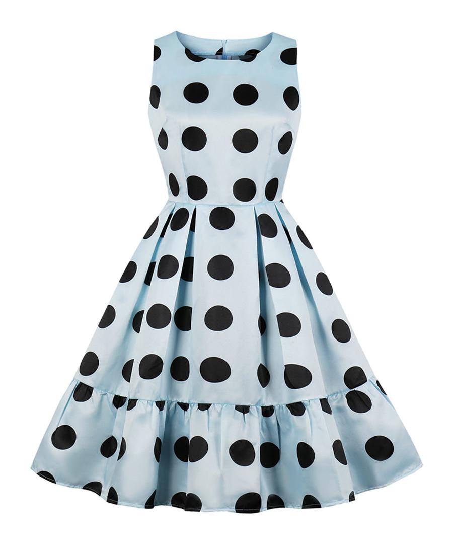 Blue & black polka dot dress Sale - Mixinni