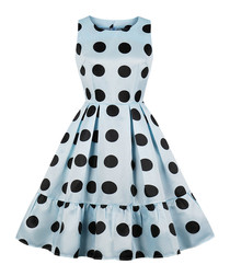 Blue & black polka dot dress