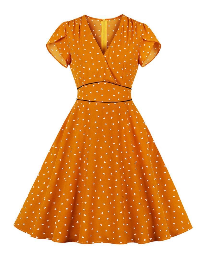 Orange polka dot soft sleeve dress Sale - mixinni