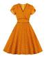 Orange polka dot soft sleeve dress Sale - mixinni Sale